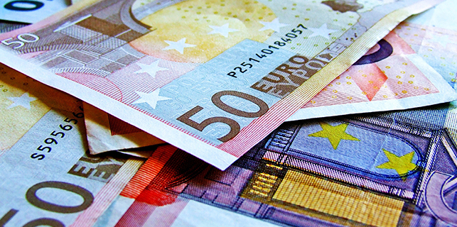 Stack of euro bank notes
